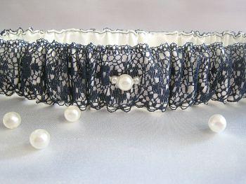 Navy Lace Overlay Wedding Garter