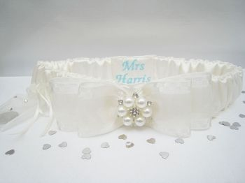 Personalised Garter With Sixpence Bag | Wedding Garter Personalised Blue