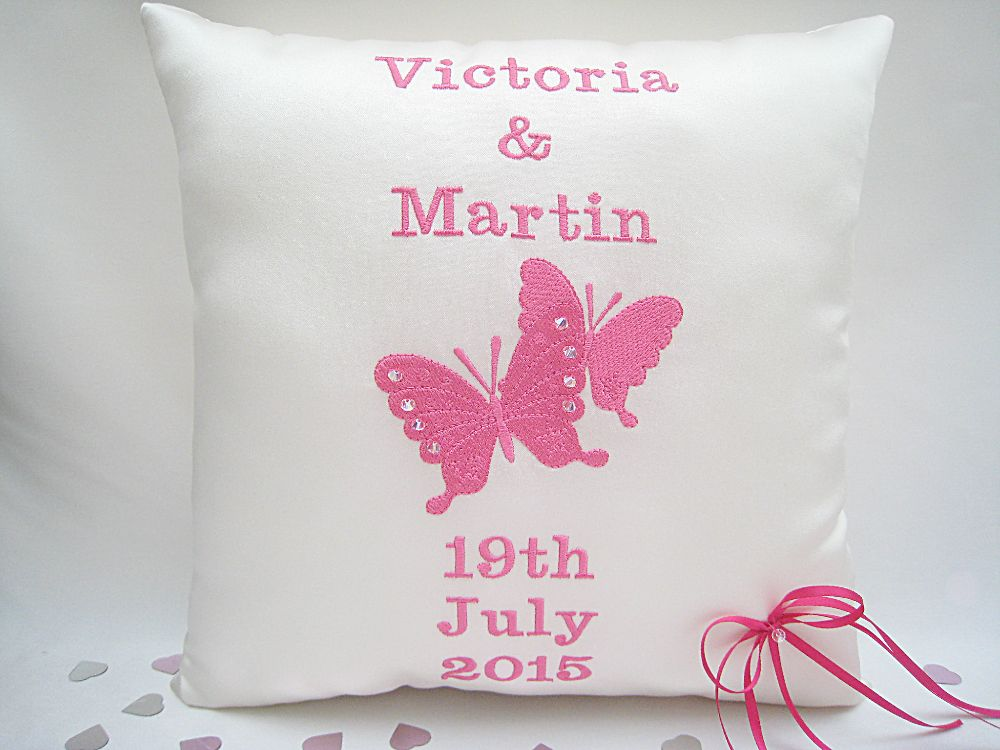 No.6 Personalised Butterfly Wedding Cushion £41.99