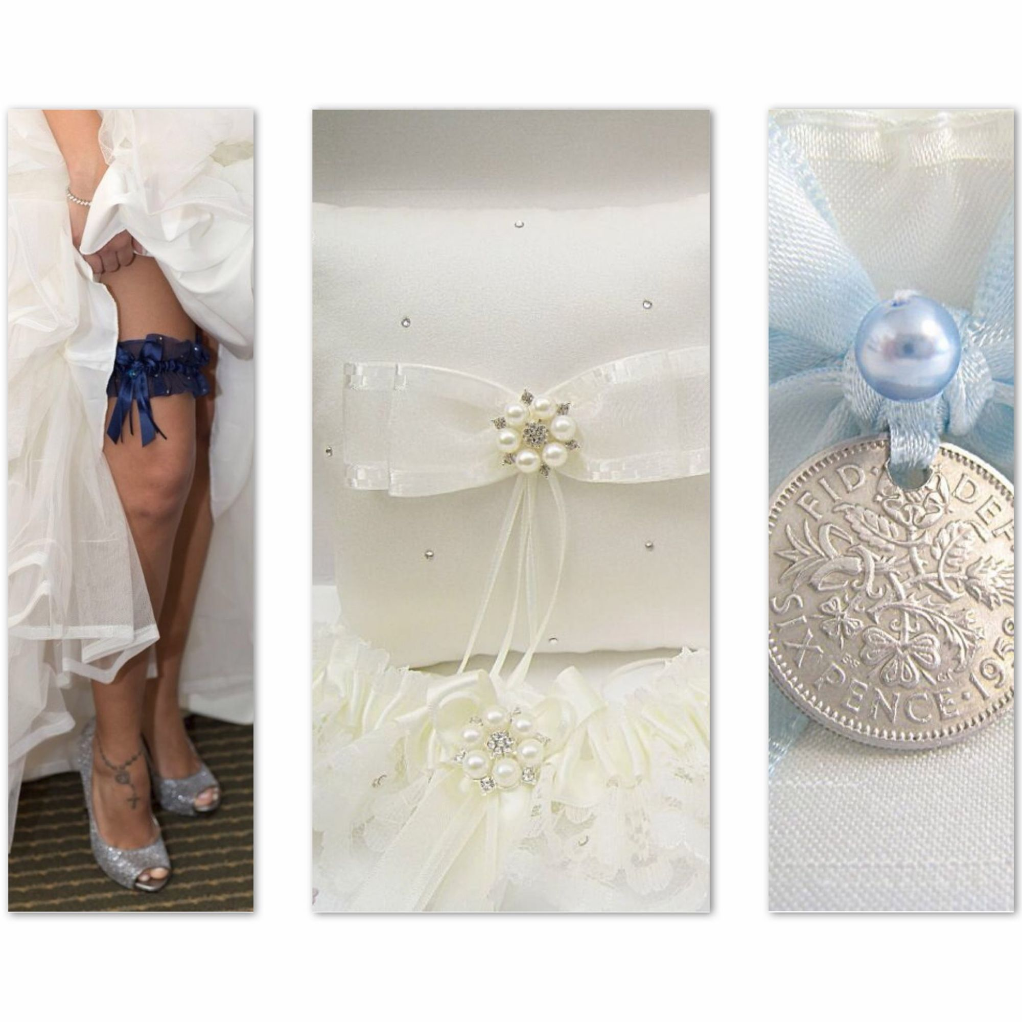 Luxury garters which are custom made to order.