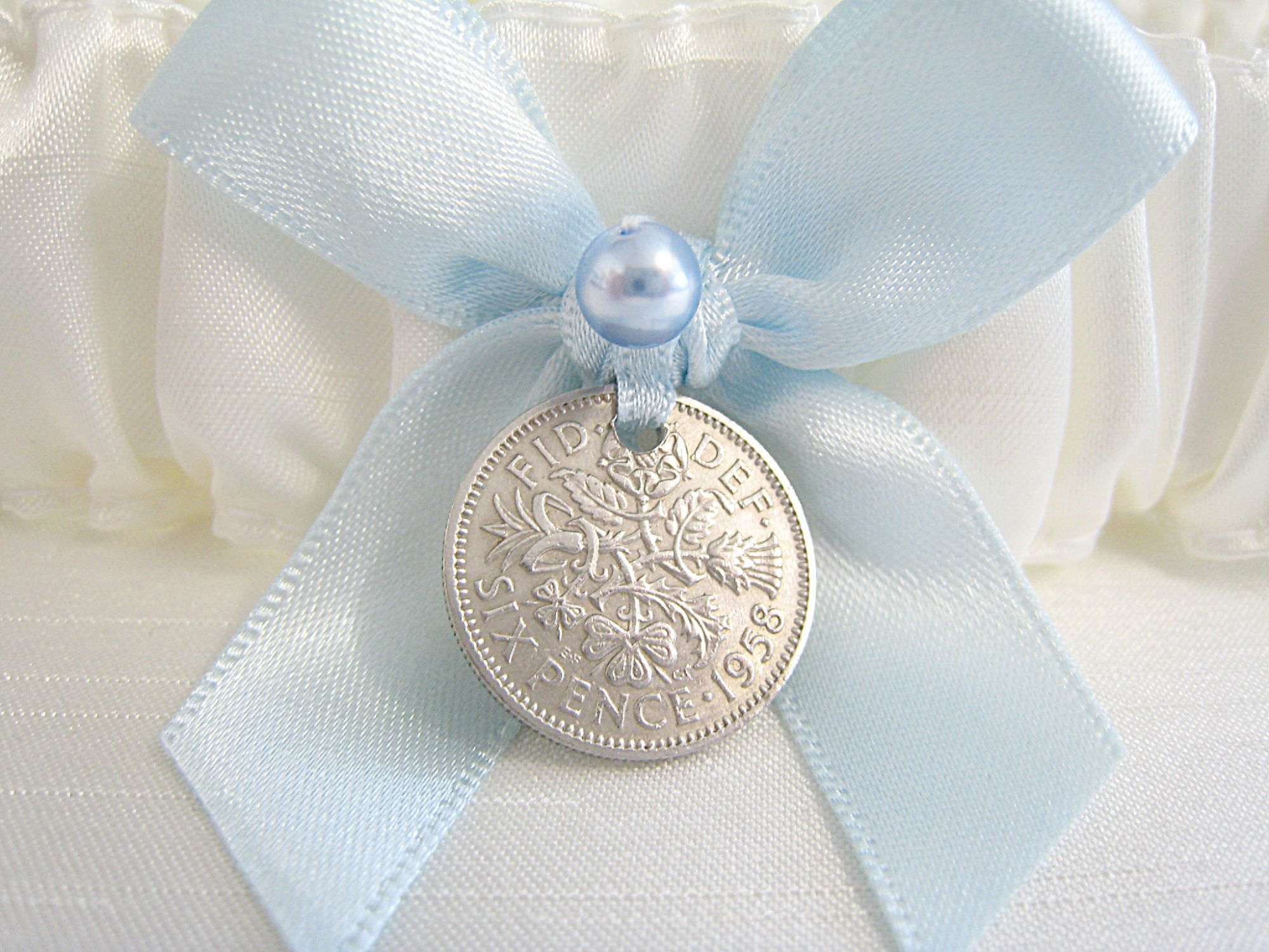 Silk Garter With Silver Sixpence