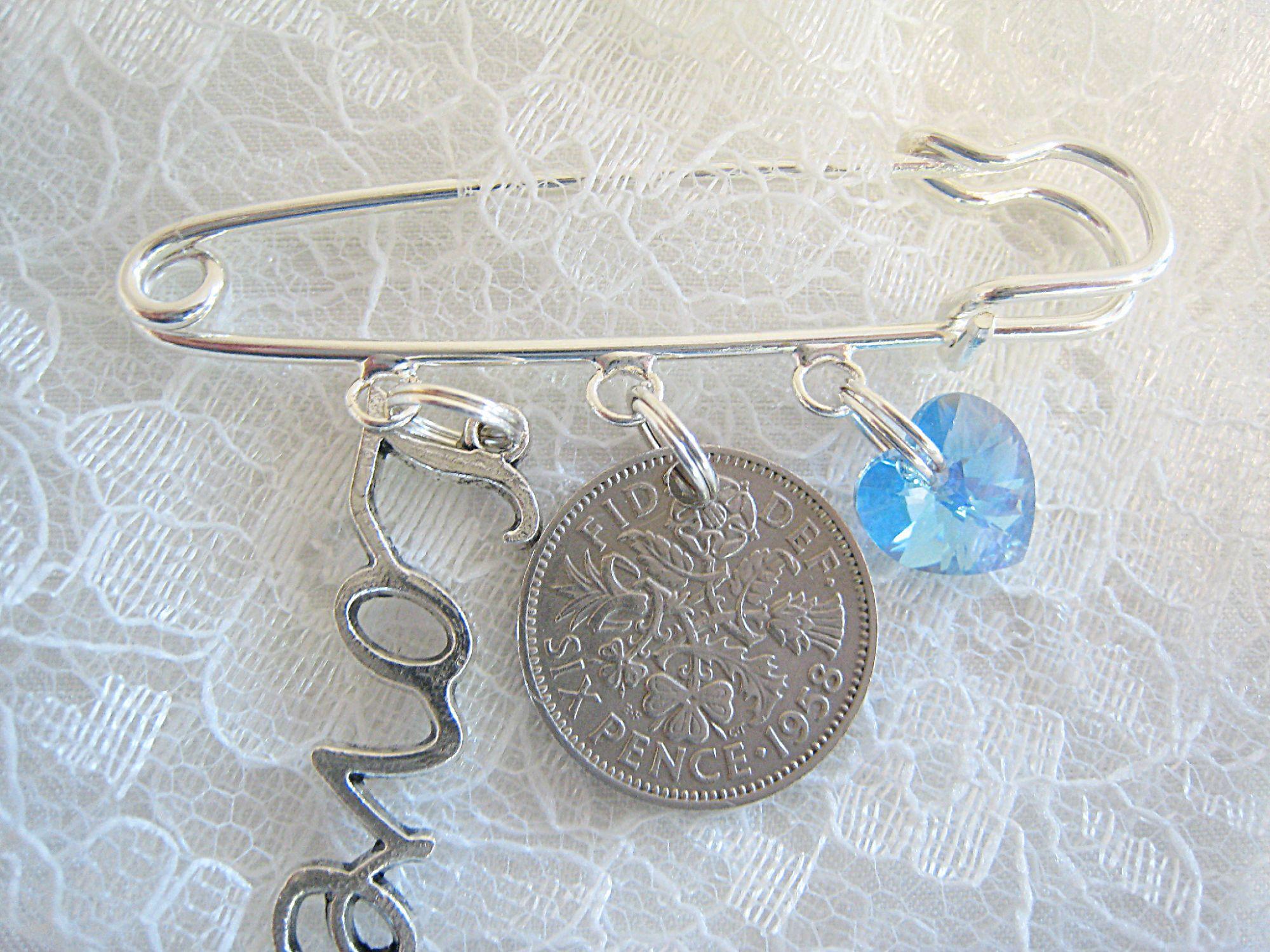 Wedding Bridal Pin With Sixpence & Swarovski Crystal