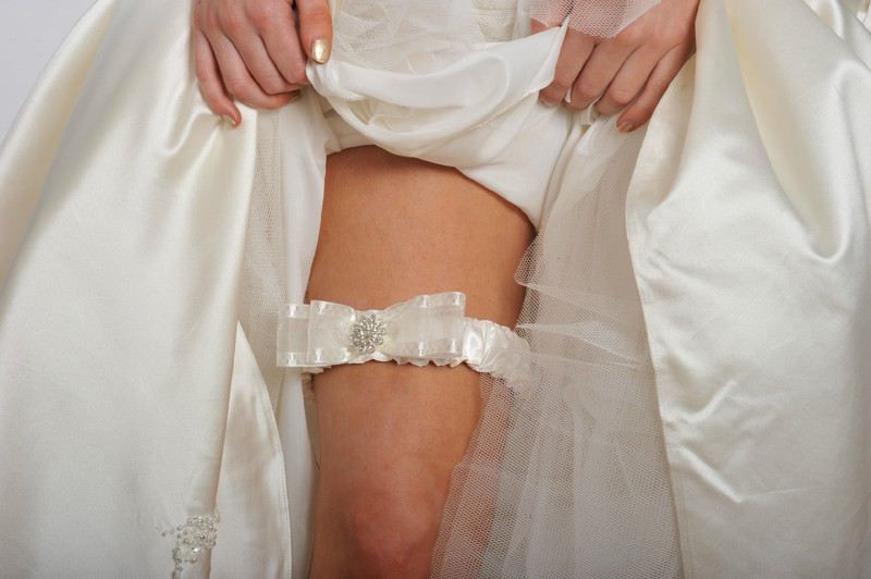 Personalised Wedding Garter, Handmade With Diamante Crystals, In Ivory Satin.