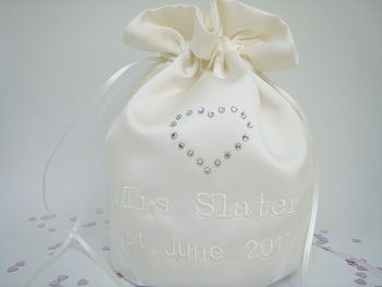 Bridal Swarovski Dolly Bags Made In Ivory Or White Duchess Satin