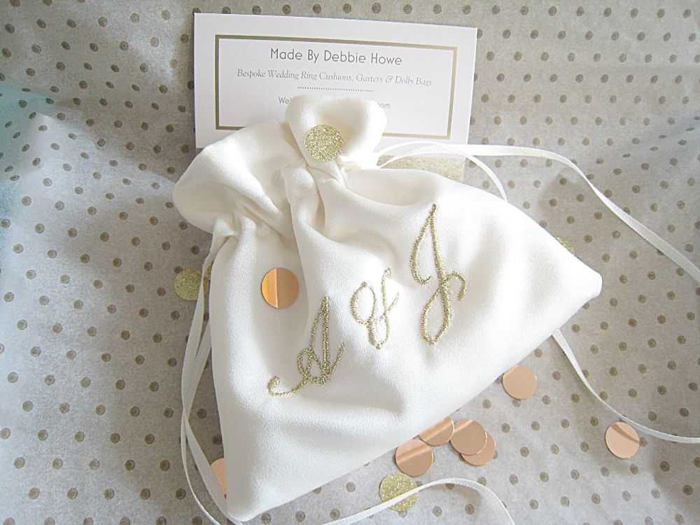 Wedding Ring Bag With Embroidered Initials