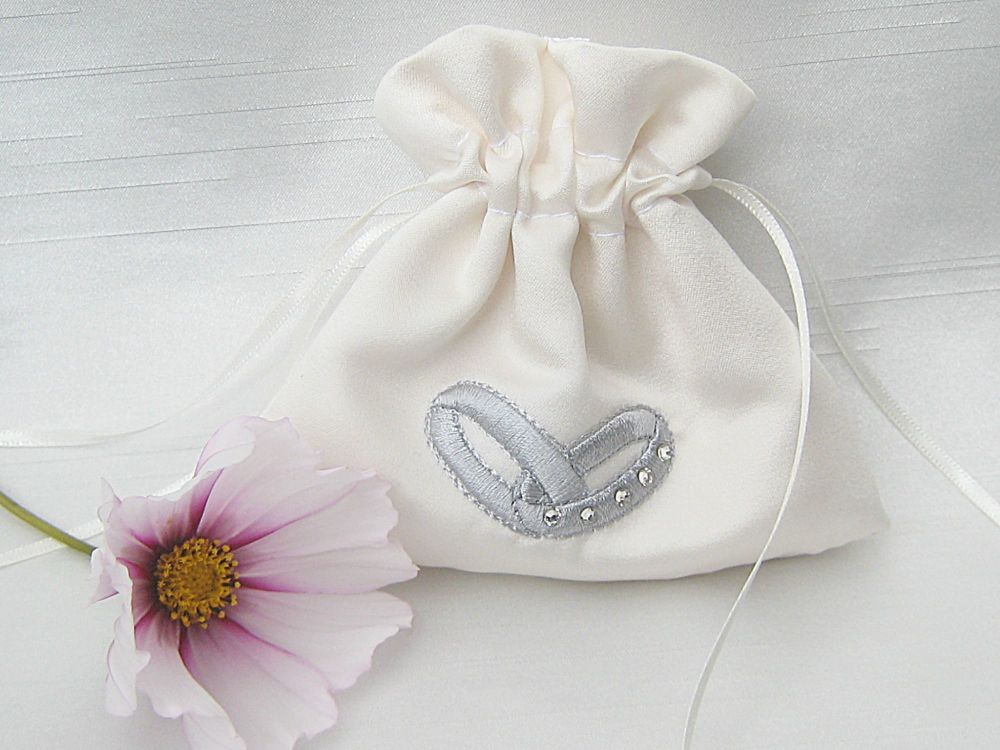 Wedding Ring Bag With Silver Embroidery