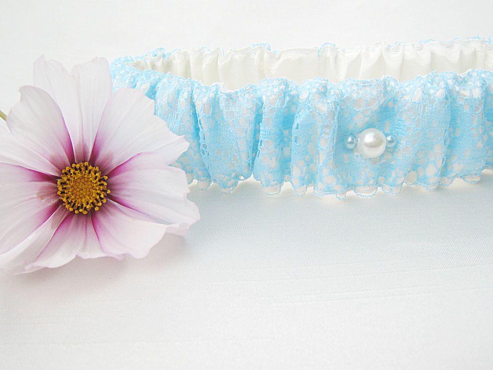 'Meadow' Sky Blue Lace Overlay Wedding Garter, Made To Order Bridal Garter