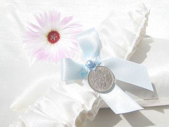 'Vicky' Sixpence Wedding garter, Something Blue Bridal Garter