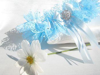 Tilly Blue Lace Wedding Garter, Luxury Personalised Bridal Garters