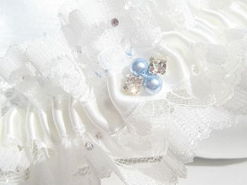 Zara Luxury Wedding Garter Swarovski Rhinestones, Something Blue Garter