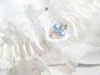 'Zara' Personalised Wedding Garter UK, Blue Pearls Stitched