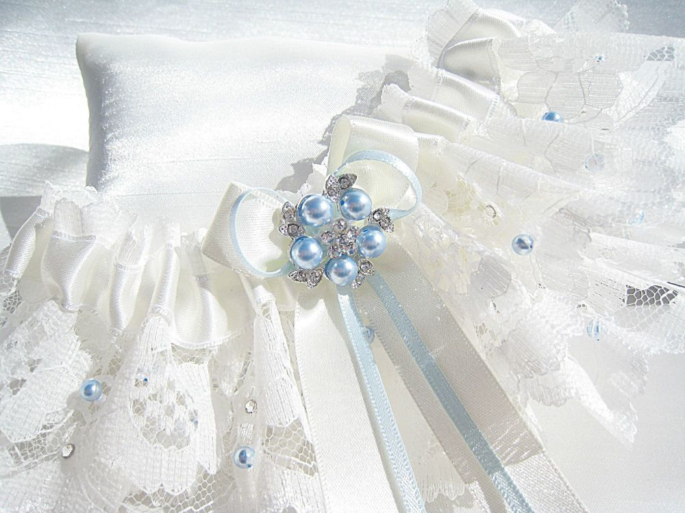 Custom Made 'Rebecca' Something Blue Bridal Garter Made To Fit The Bride