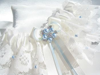 Custom Made 'Rebecca' Blue Bridal Garter Made To Fit The Bride