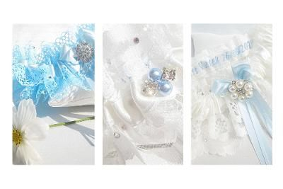 3 different blue wedding Garters which are all different designs.