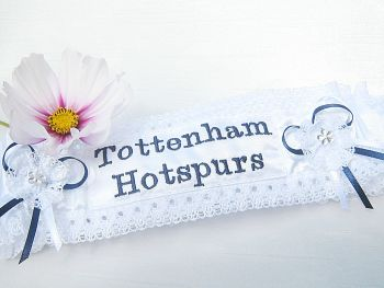 Wedding garter with Tottenham Hotspur's embroidered on the front.