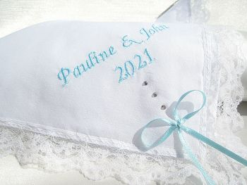 Wedding Hankie which has been embroidered with bride and grooms names and the wedding date.