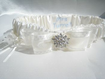 All Ivory BLISS Luxury Garter With Sixpence & Personalised