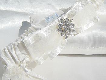 'Bliss' Personalised Wedding Garter, Brides Surname Wedding Garter