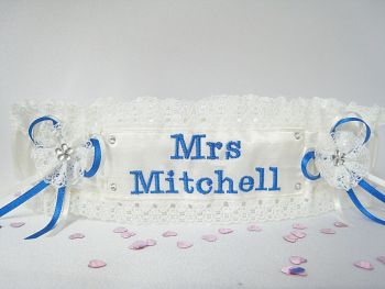 Angie Embroidered Wedding Garter With Brides New Name