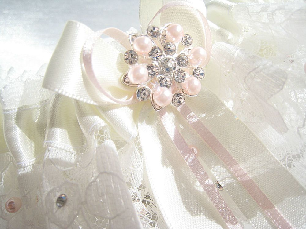 Lux Wedding Garter Stitched In Lace With Pink Pearl Beads.