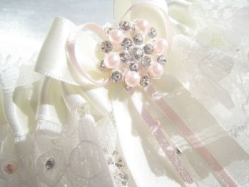 Blush Luxury Wedding Garter, Personalised Garters With Pearls & Crystals