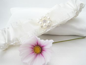Jane Wedding Garter Which Includes Embroidery Details & Sixpence Coin