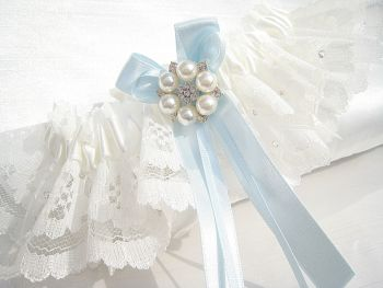 Bridal Garter With Swarovski Crystals & Blue Bows, Made To Order