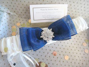 Bliss Navy Luxury Personalised Wedding Garters, Custom Made Garters UK