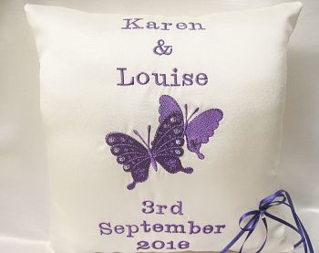 Butterfly Personalised Wedding Ring Cushion With Crystals ANY COLOUR