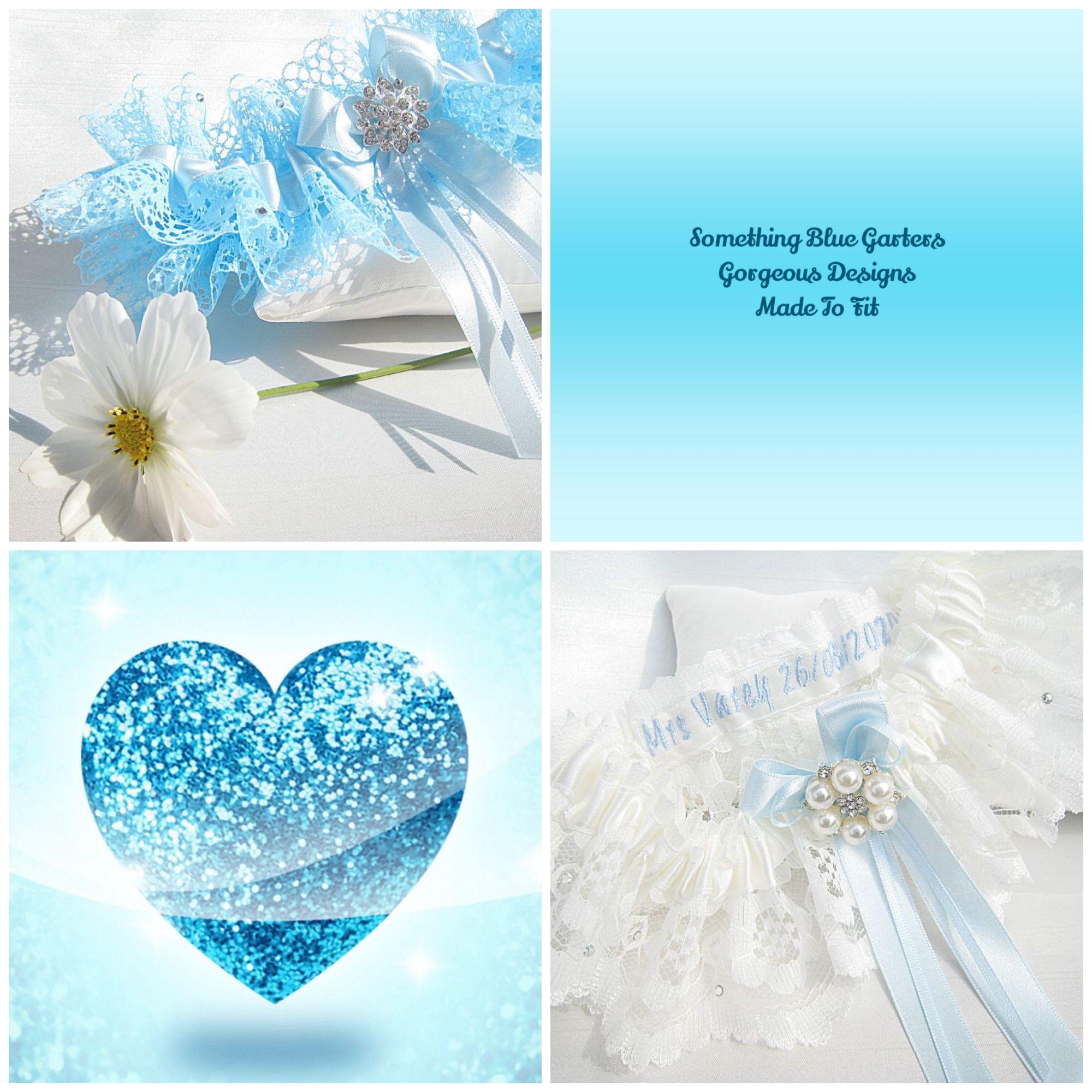 Luxury Wedding Garters, Handmade & Personalised With Blue Thread.
