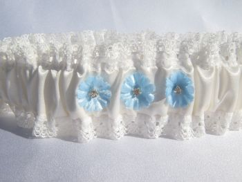 Flora Wedding Garter With Something Blue Touches