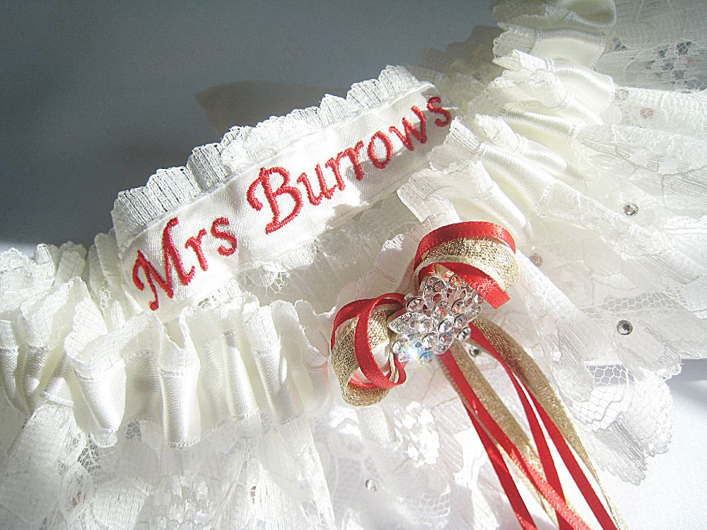 RED Wedding Garters