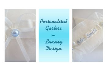 Wedding Garter Personalised, Brides New Name Stitched On The Front