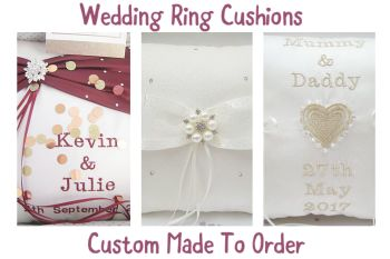 Luxury Wedding Ring Cushions, Personalised, Made From Satin, Lace & Crystals