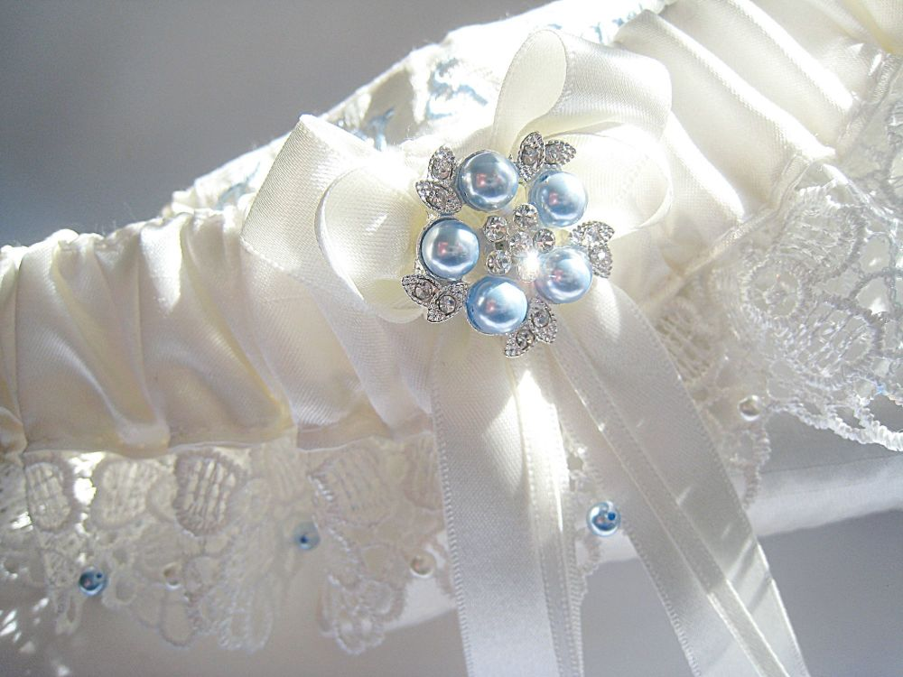Luxury Garter, Handstitched With Pearl Beads & Embroidered