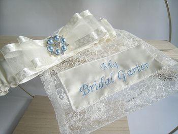 'Beautiful' Garter & Dust Bag *Personalised*