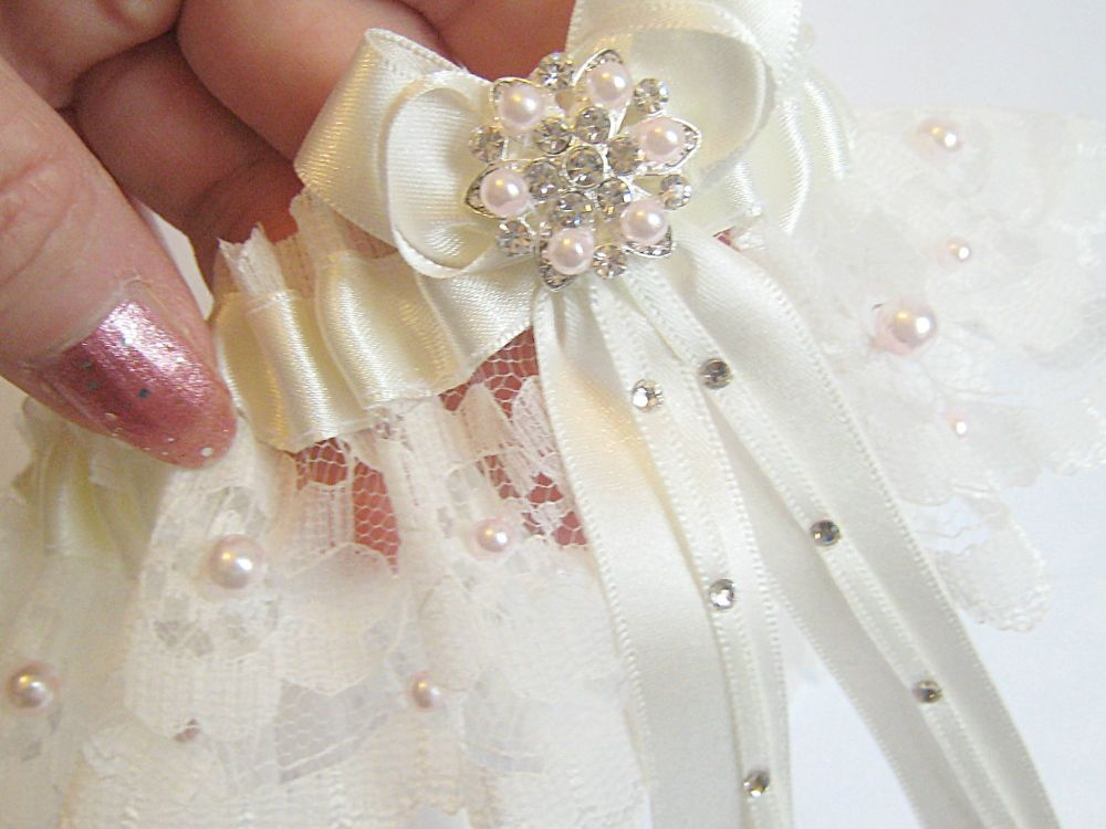 Unique Wedding Garters, Handmade With Pale Pink Pearls.