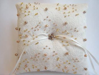 Gold & Ivory Beaded Ring Cushion - One Off Design