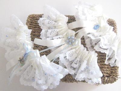 Handmade Wedding Garters, Ivory Lace, Swarovski Crystals With Blue Details.