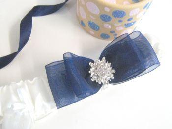 'Bliss' Wedding Garter, Personalised Plus Sixpence Bag