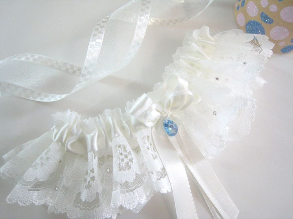 Couture Lace Garter, Ivory & Blue Garter For Brides.