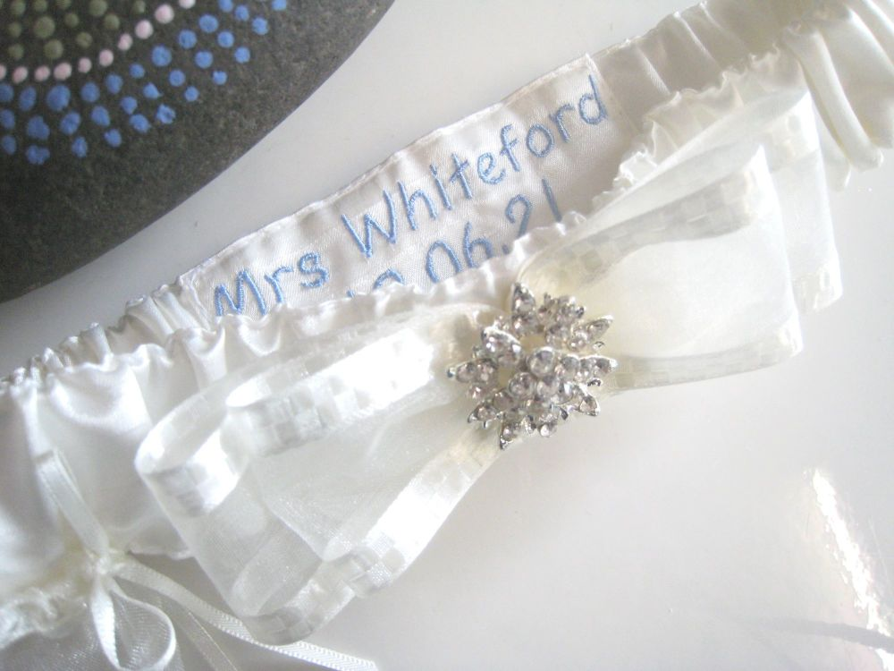 Couture Garter, Luxury Details, Satin Fabric With Crystal Button.