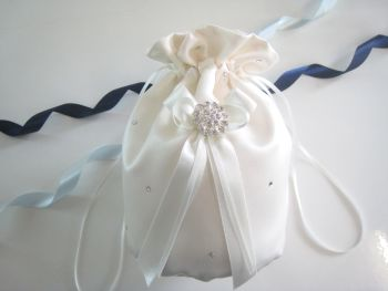 Crystal Dolly Bag - White Or Ivory Duchess Satin