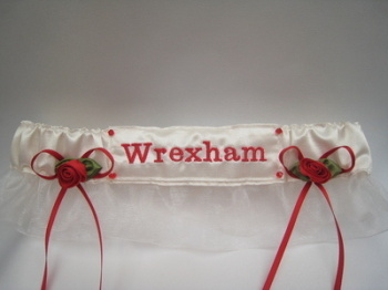 No25 WREXHAM Organza Wedding Football Garter