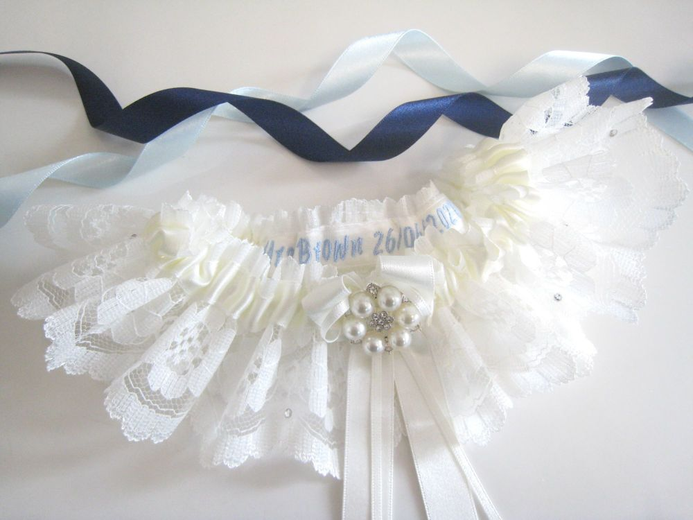 Personalised Garter  With Lace Dust Bag