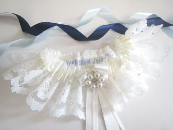 Beautiful Personalised Garter  With Lace Dust Bag