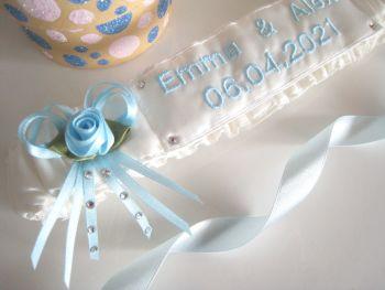 Atia Luxury Custom Made Wedding Garter Personalised, Bridal Garter Lace Bag