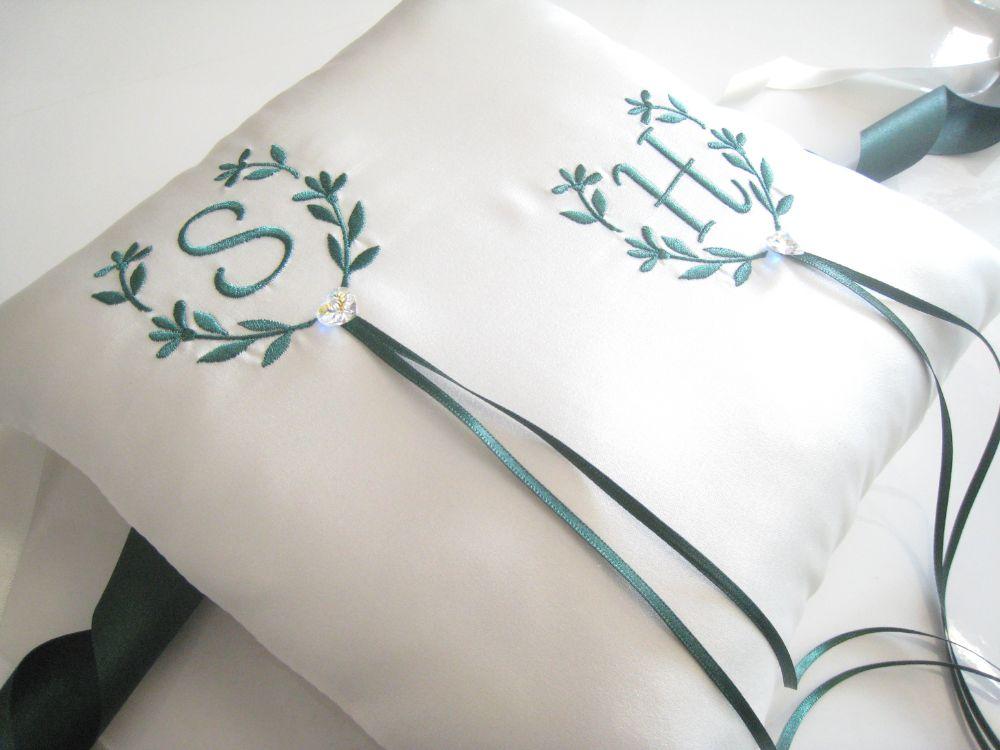 No11 Initials Wedding Ring Cushion - £39.99