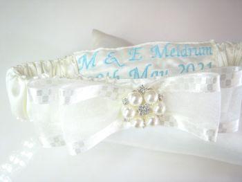 Personalised Garter With Sixpence Bag | Wedding Garter Personalised Blue
