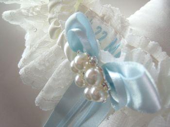'Bailey' Wedding Garter With Blue Bows